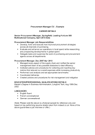 Procurement Manager Cv Template And Examples Renaixcom