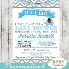 Blue Elephant Baby Shower Invitation Card D105