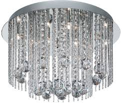 beatrix 8 light flush mount ceiling light polished chrome crystal drops