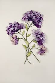 on purple metal wall art flower with clustered lilacs metal wall hanging