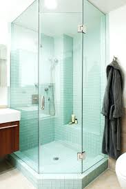 clear glass tile for shower bathroom eclectic with cantilevered vanity image by wolf wing interior design