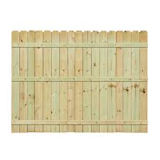 fence construction. pressure treated pine dogear picket fence construction