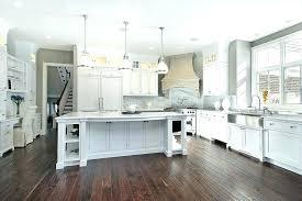 dark wood floors white kitchen with oak trim gray walls