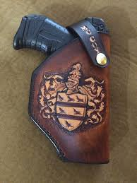 custom made coat of arms family crest leather holster
