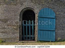 open old blue door csp50472294