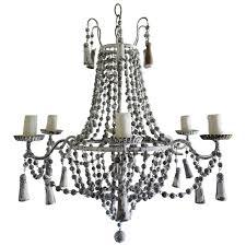 italian six light painted wood beaded chandelier
