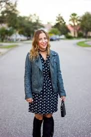 outfit idea lucky brand leather moto jacket pink martini printed dress and sam edelman