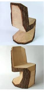 Tree-trunk chair rough-carved with a chainsaw