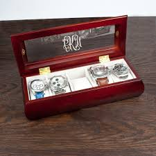 personalised leather watch and cufflinks box buy from prezzybox com personalised wooden watch case