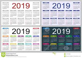 Basic Calendars Set Of Colorful Calendars 2019 Stock Illustration Illustration Of