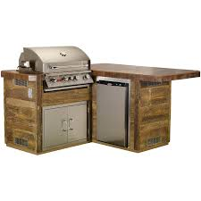 Bull Outdoor Products Little Q L Shaped BBQ Island with 4 Burner Angus Gas  Grill Single Horizontal