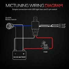 amazon com how to wire a 5 pin rocker switch diagram amazon com mictuning hd 12 gauge 600w led light bar wiring harness kit w 60amp relay, 3 free fuse, rocker switch blue(2 lead) automotive