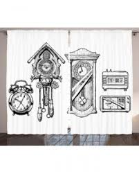 vintage window drawing. vintage curtain ink hand drawn clock print 2 panel window drapes drawing