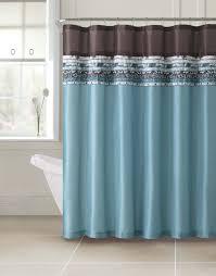 poetica faux silk aqua blue teal brown turquoise fabric bathroom shower curtain