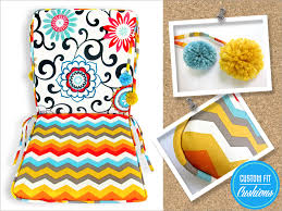 outdoor chair cushions with pom ties