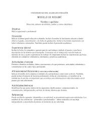 ... Modelos De Resume 7 Modelo Resum En Espa Ol UNIVERSIDAD DEL SAGRADO  CORAZ N M O D E L R ...