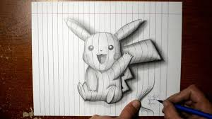 pokemon pencil painting images how to draw pikachu line paper 3d trick art you