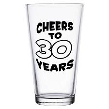 4ever cheers to 30 years printed beer pint glass 30th birthday gift black print