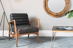 Image Leather Black Leather Armchair Wooden Arms From Perch And Parrow Mad About The House Three Great Leather Armchairs Mad About The House
