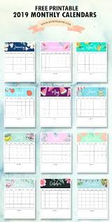 free printable 2019 monthly calendar calendar 2019 printable free 12 monthly calendars to love