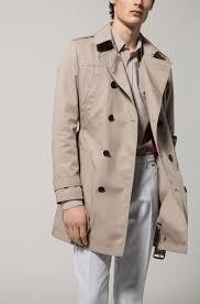 beige hugo slim fit trench coat in water repellent fabric hugo boss coats 50389109