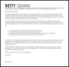 Cover Letter For A Care Assistant Health Care Assistant Cover Letter