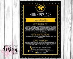 honey and lace care card honey lace consultant post card exchange returnpolicy wash instructions marketing kit best yellow black ble bee hexagon