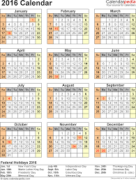 calendar printable excel templates xls template 10 2016 calendar for excel year at a glance 1 page