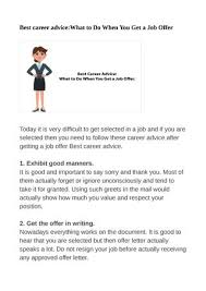 Best Career Advice What To Do When You Get A Job Offer