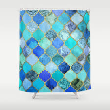Cobalt Blue Aqua Gold Decorative Moroccan Tile Pattern Shower