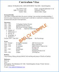 ... Examples Of Excellent Resumes 20 Preview A Bad And Horrible CV Example  How Not To Write ...