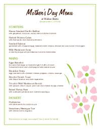 Mother S Day Menu Template Mothers Day Menu Template Tutmaz Opencertificates Co