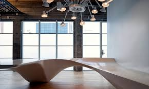 eclectic office furniture. Eclectic Office Equipment - Concrete And Wood Dominate The Interior Furniture A