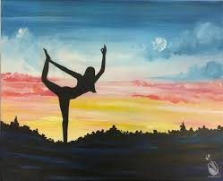how to paint yoga at sunset public event