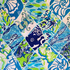 Lilly Pulitzer Fabric 3 Patches Of Lilly Pulitzer Fabric Mermaid Patchwork Summer 2017