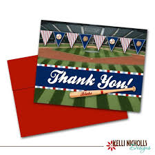 Kelli Nicholls Designs Etsy Review Baseball Thank You Cards