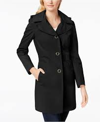 anne klein women s black hooded lightweight trench coat