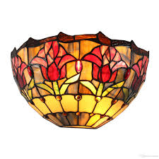 30cm 12 Inch Diameter Handmade Stained Glass Handcrafted Tulip Wall Sconce Lamp Jeweled Bedroom Wall Light