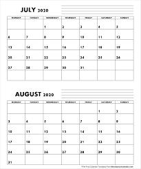 Jul Aug 2020 Calendar Monday Start Editable Two Months