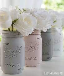 jar crafts painted distressed bathroom painted distressed mason jars pink grey chalk paint