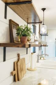 shiplap wall kitchen. open shelving in kitchen with shiplap walls and marble countertops wall
