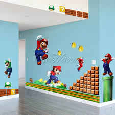 Super Mario Bedroom Stickers Wall Decal Nintendo Super Mario Stick Set Kids Bedroom