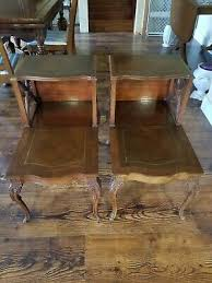 antique thomasville coffee table furniture set carved wood leather top end table