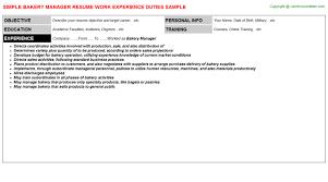 Bakery Manager Resume Resumes Templates Jobdescriptionsandduties Com