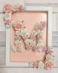 Paper Flower Frame Wooden Letter Hand Painted And Decorated Using High Quality Handmade