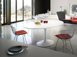 Kitchen: Classy Tulip Dining Table Oval Lifestyle White Laminate White Base  Tulip Kitchen Table