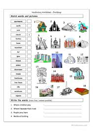 Vocab Building Worksheets Vocabulary Matching Worksheet Buildings English Esl