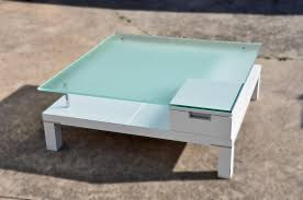 White Wood Coffee Table With Drawers Square White Lacquer Wooden Coffee Table With Glass Top And White