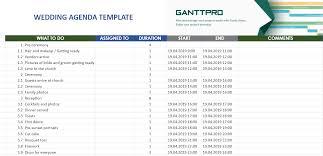 Gantt Chart Google Sheets Template Wedding Agenda Template Excel Template Free Download