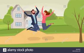 New Home Cartoon Images Jumping Couple Flat Vector Illustration Man And Woman